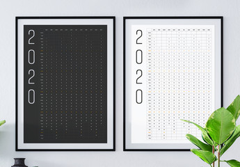 2020 Calendar Poster with Black and White Accents