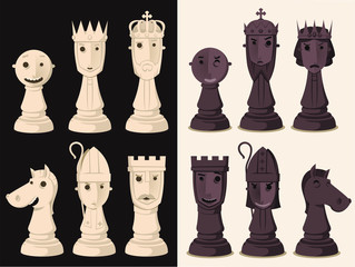 cartoon chess pieces