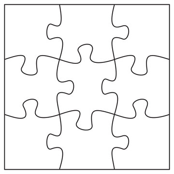 9 jigsaw pieces template. Nine puzzle pieces connected together.