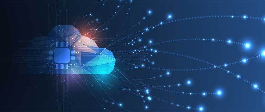 Cloud technology. Integrated digital web concept background