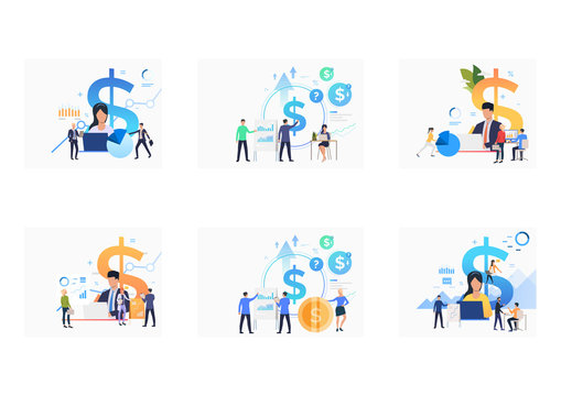 Finance management set. Investors and accountants analyzing charts, using computers. Flat vector illustrations. Finance, money, income concept for banner, website design or landing web page