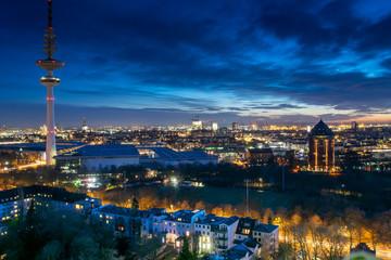 Hamburg at night.