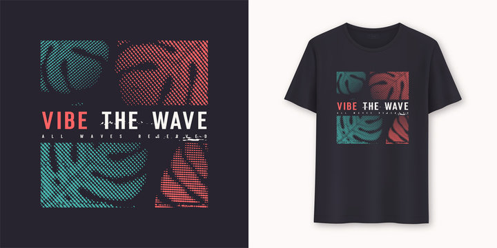 Vibe the wave stylish graphic t-shirt vector design, typography