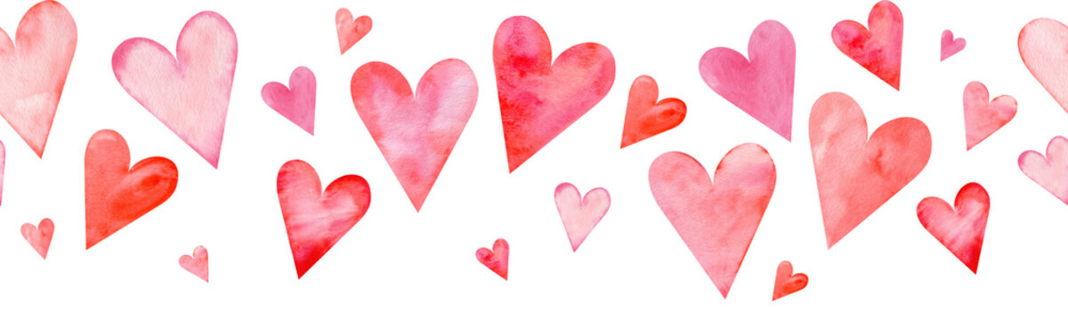 Seamless watercolor header with pink and red hearts on white background. Valentine's day border.