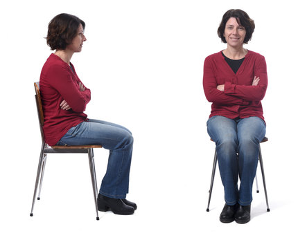 woman sitting on a chair back and front on white background,arms crossed