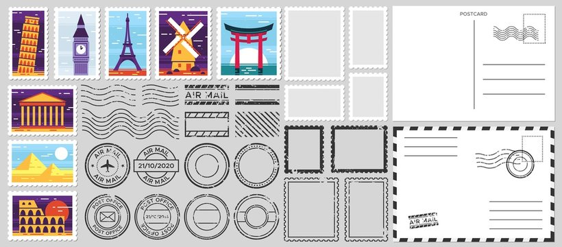 Postage stamps. Air mail envelope, post office stamp and postal stamps vector set. Cachets and postmarks with different landmarks illustrations. Blank postcard and letter templates with copyspace