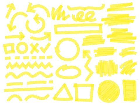 Highlight marker strokes. Yellow checkmark marks, text highlighter lines and highlights marking vector set. Bright arrows, geometric shapes, lines and random scratches isolated on white background