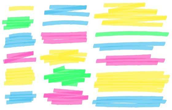 Color highlight marker lines. Colorful markers scribble, highlights line strokes and highlight banner vector set. Freehand multicolor scrawls isolated on white. Text underlining and highlights