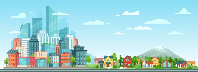 Suburban and urban cityscape. Modern city architecture, suburban or village houses and summer landscape vector illustration. Metropolis skyline and suburbs. Financial district and countryside panorama Fotomurales