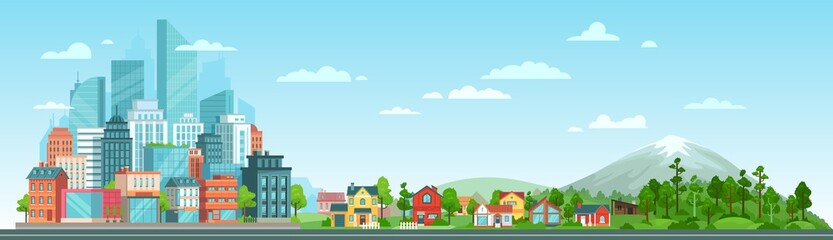 Urban and nature landscape. Modern city buildings, suburban houses and wild forest vector illustration. Contemporary metropolis with skyscrapers, suburbs with cottages and woods panorama Fotomurales