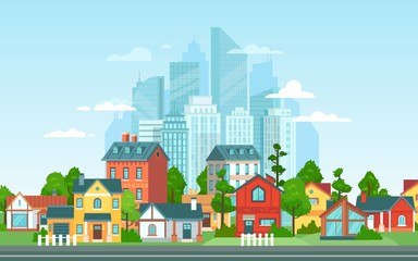 Suburban landscape. Urban architecture, small and big city buildings. Suburbans houses cartoon vector illustration. Countryside, suburbs with private cottages with cityscape on background Fotobehang