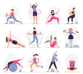 Woman sport activities. Beautiful young woman do fitness activities, female character run and yoga exercises vector illustration set. Sportive ladies working out. Healthy lifestyle, active workout