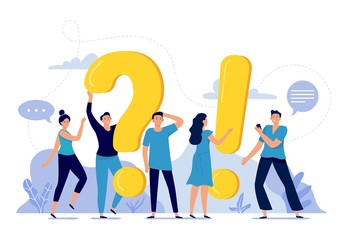 People ask frequently asked questions. FAQ, person asking question, mens and womens questions and answers vector illustration. Internet communication platform concept. Online forum users