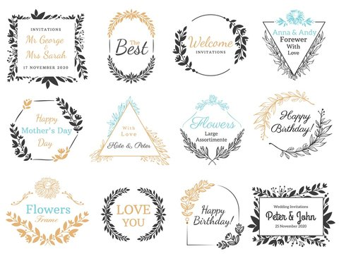 Floral ornaments labels. Hand drawn invitation label, decorative flower ornaments frames and vintage calligraphic banner vector set. Vintage wedding invite cards and holidays postcards design elements