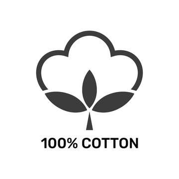 100 percent cotton - web black icon design. Natural fiber sign. Vector illustration. EPS 10