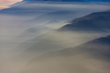 Aluminium Prints Dark grey The plateau of Cansiglio in Italy / View from Mount Pizzoc
