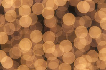 Abstract blur circle golden bokeh  lights  background  of Christmas and Happy New Year