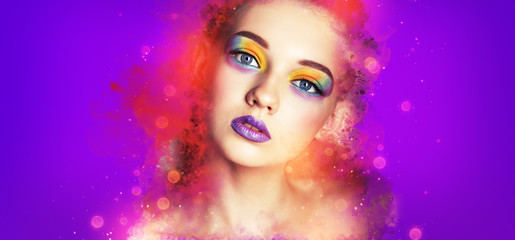 Wall Mural - Beauty Portrait Woman with Creative Make-up. Effects. Bright Makeup Model. Purple background.
