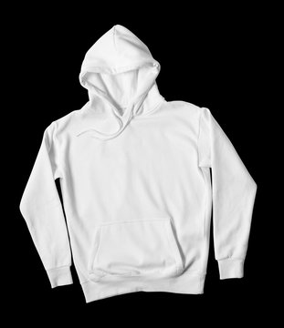 Blank white hoodie sweatshirt front view on black background.