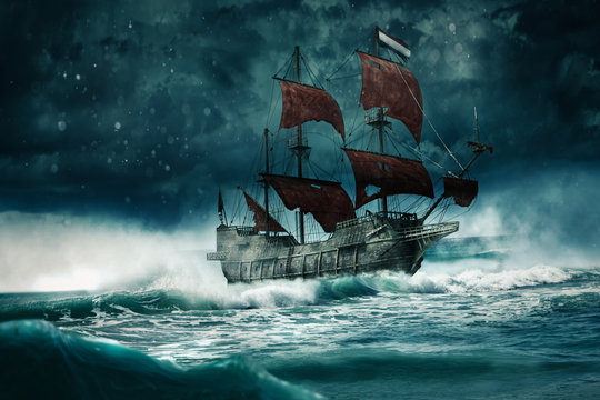 A ghost ship sails through the stormy night