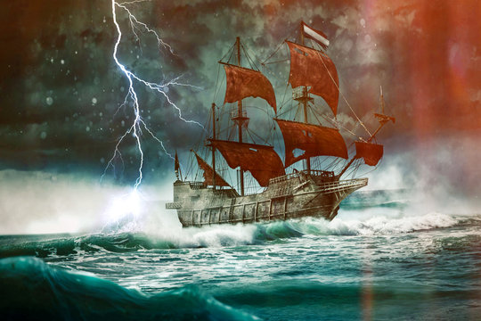 The flying Dutchman drives through the stormy night