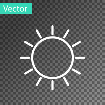 White line Sun icon isolated on transparent background. Vector Illustration