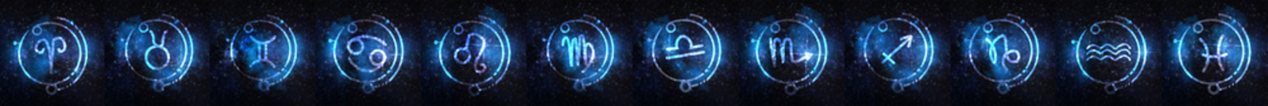 Set of Astrology signs against starry sky