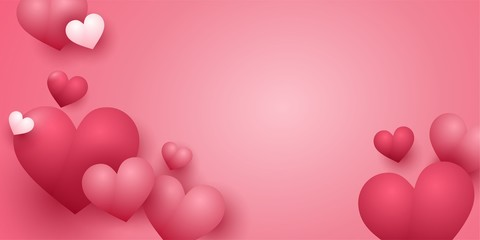 Foto auf Acrylglas Rosa Lovey Background for Valentine's Day with pink hearts on pink background. Can be used to design websites for Valentine's Day, banners, postcards. 3 d heart.