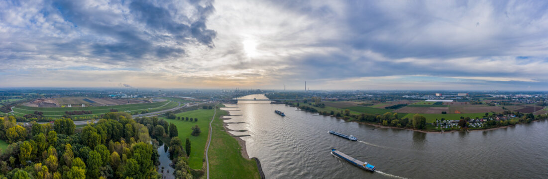 Panoramic view on riverboats on the Rhine. Aerial photography by drone.