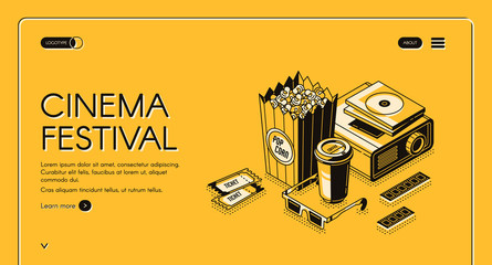 Cinema festival isometric landing page, movie time entertainment concept with popcorn, film projector, 3d glasses, tickets and coffee cup on yellow background. Vector illustration, line art web banner