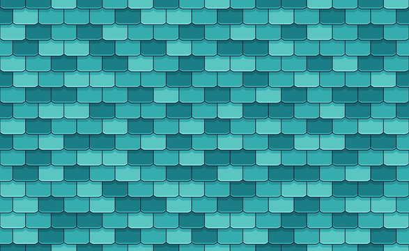 Blue roof tiles seamless pattern