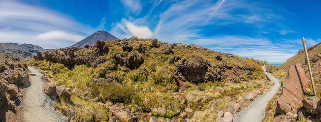 Panoramic picture of Mount Ngauruhoe in the Tongariro National Park on northern island of New Zealand in summer
