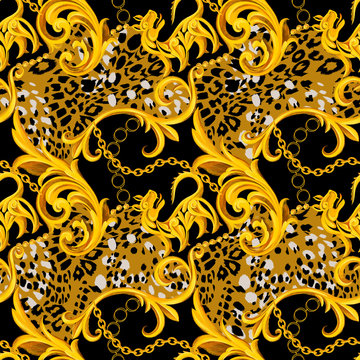 Golden baroque ornament design with leopard skin texture. Animal fur seamless pattern for textile print.