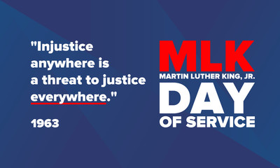 MLK day of service. Honor of Martin Luther King, Jr. Celebrated annual in United States in January, federal holiday. African American Rights Fighter. Patriotic american elements. Vector poster