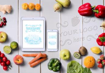 Organic Food Tablet and Phone Mockup