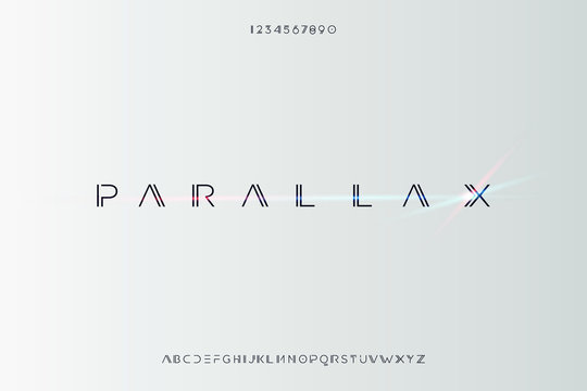 Parallax. Abstract technology futuristic alphabet font. digital space typography vector illustration design