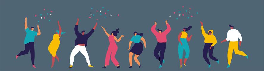 Dancing people flat vector set. Young people having fun. Party. Celebration. Fotobehang