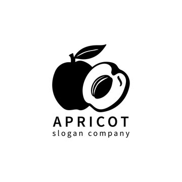 Logo with decoral apricot or plum. Design concept, logotype element for template. Vector illustration isolated on white background.