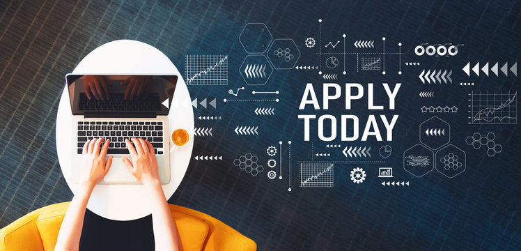 Apply today with person using a laptop on a white table