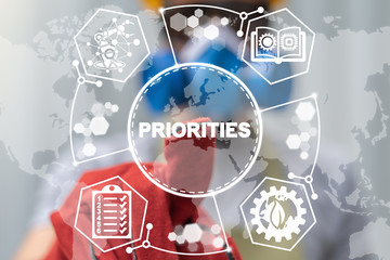 Important Prioritize Industry Management Concept. Technology Automation Ecology Learning Industrial Priorities.