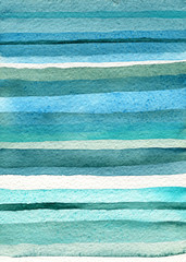 Colorful watercolor blue lines on paper