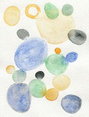 Watercolor colorful circles and dots on paper