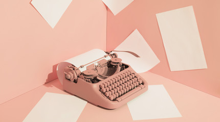 Pink Office Typewriter With White Paper