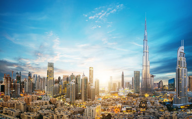 Papiers peints Dubai Amazing panoramic view on Dubai futuristic skyline, Downtown Dubai, United Arab Emirates