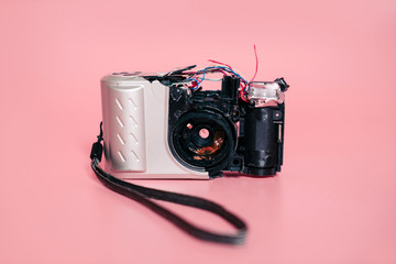 Destroyed compact camera