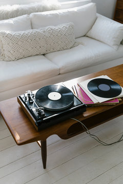 Vintage Turntable at Home