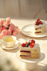 Strawberry cake and afternoon tea.