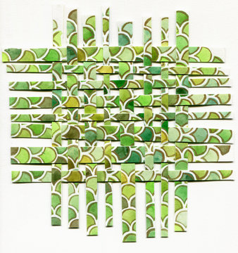 Watercolor woven paper collage in green color isolated on white background