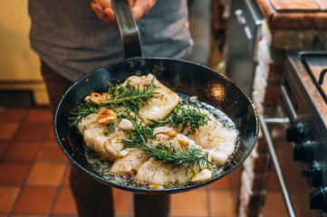 Food: Fried cod with herbs and garlic