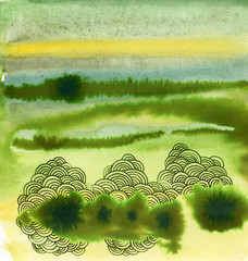 Watercolor green abstract landscape texture